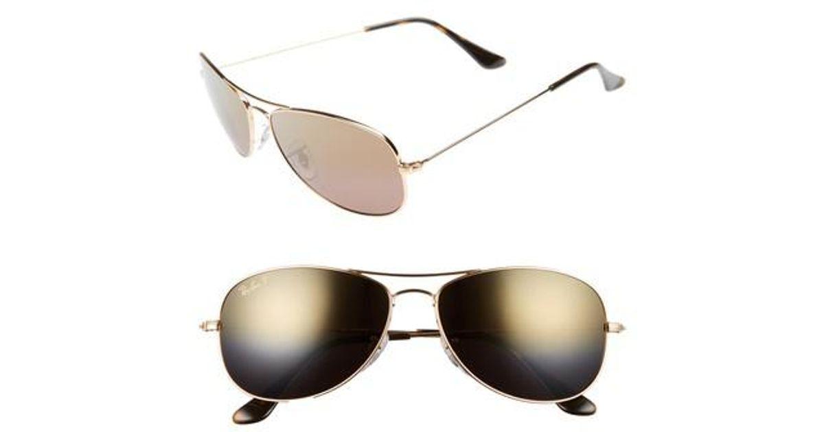 9d180b878c Lyst - Ray-Ban 59mm Polarized Aviator Sunglasses - Shiny Gold brown Mirror  Gold in Metallic