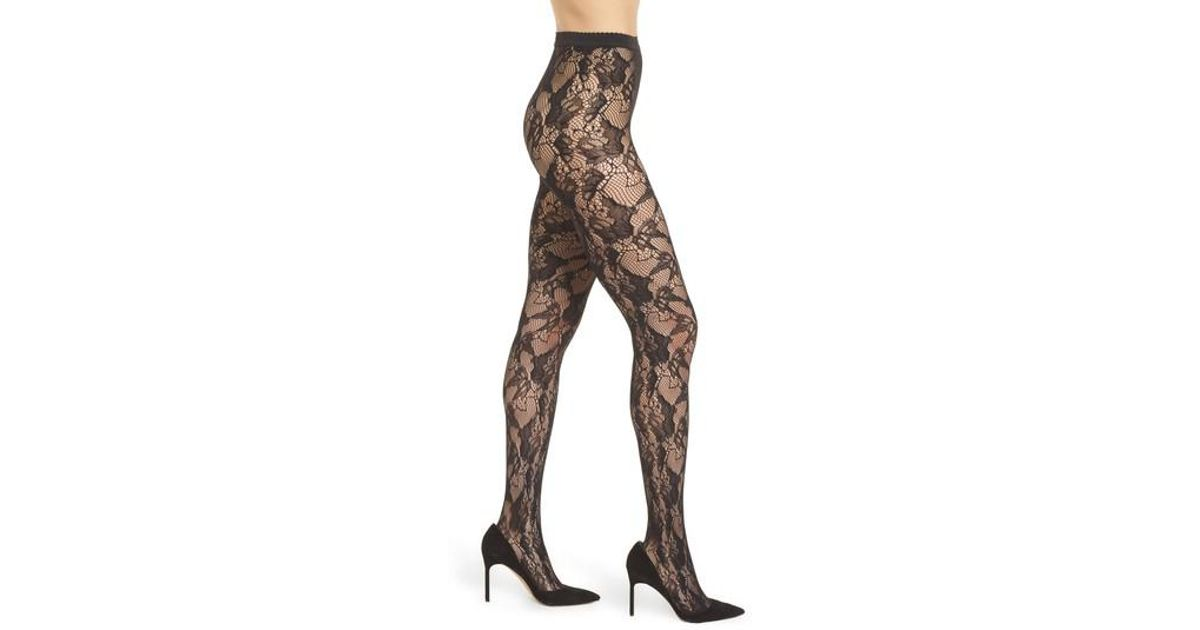 d0fd7d4e815b0 Wolford Louise Floral Fishnet Tights in Black - Lyst