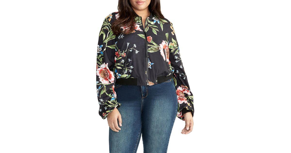 0b84f96edb5 Lyst - RACHEL Rachel Roy Nicole Floral Bomber Jacket in Blue