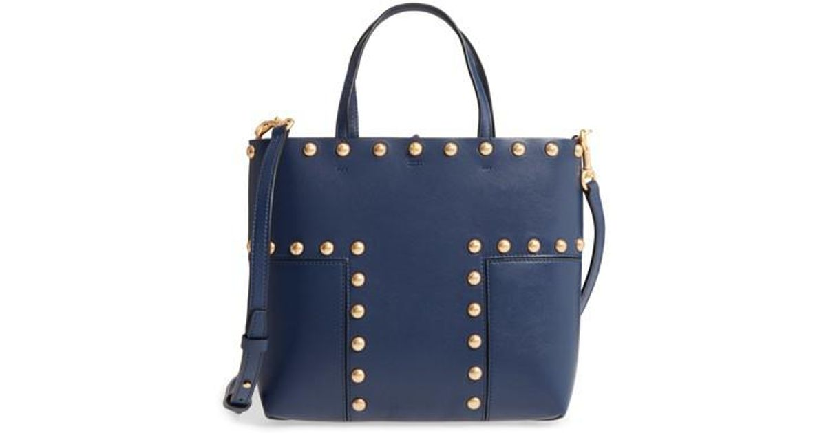 1a283ba11c3 Lyst - Tory Burch Block-t Mini Studded Leather Tote in Blue
