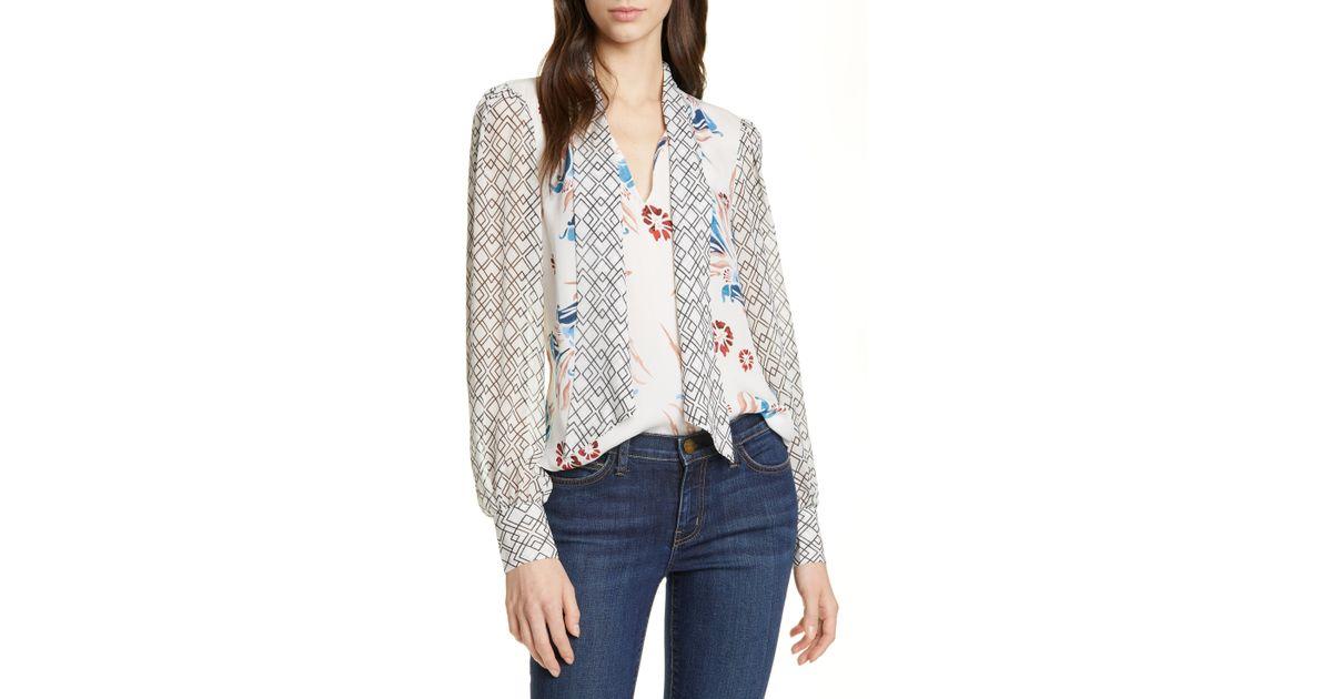 c4a01d5353d64 Lyst - Joie Kanela Mixed Print Tie Neck Silk Blouse