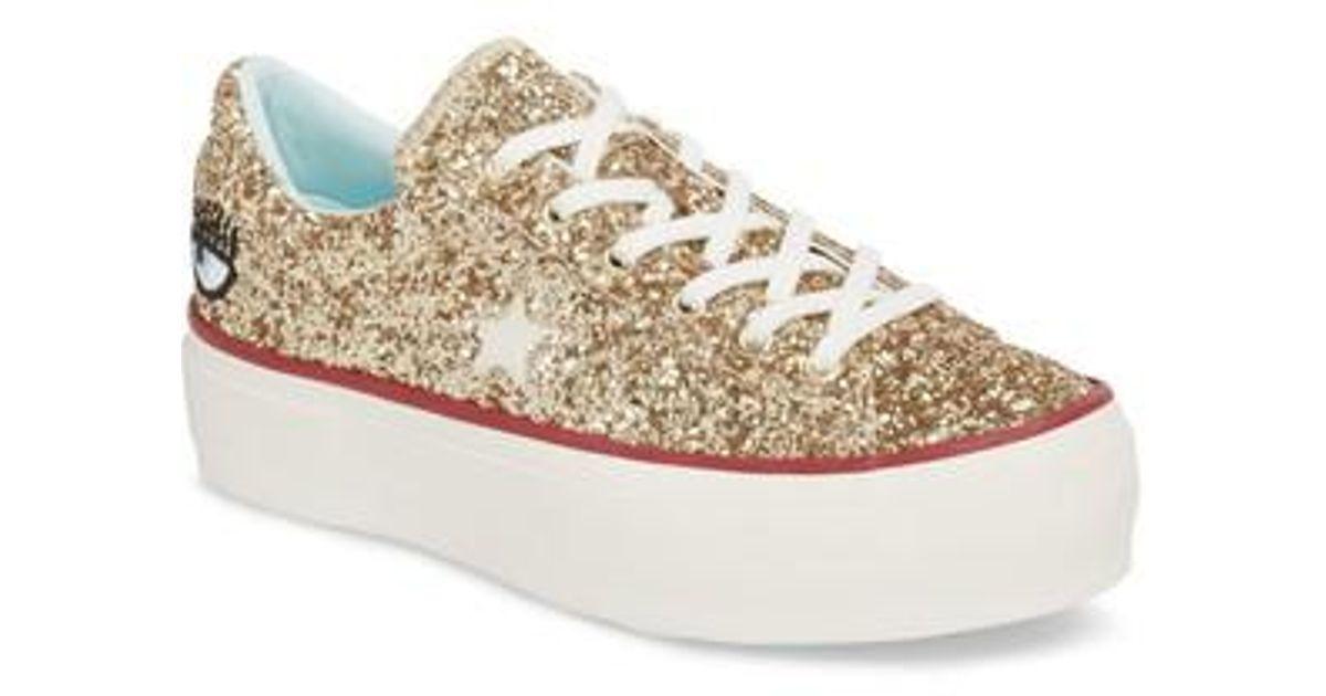 2da94aa88b1d Lyst - Converse X Chiara Ferragni One Star Glitter Platform Sneaker in  Metallic