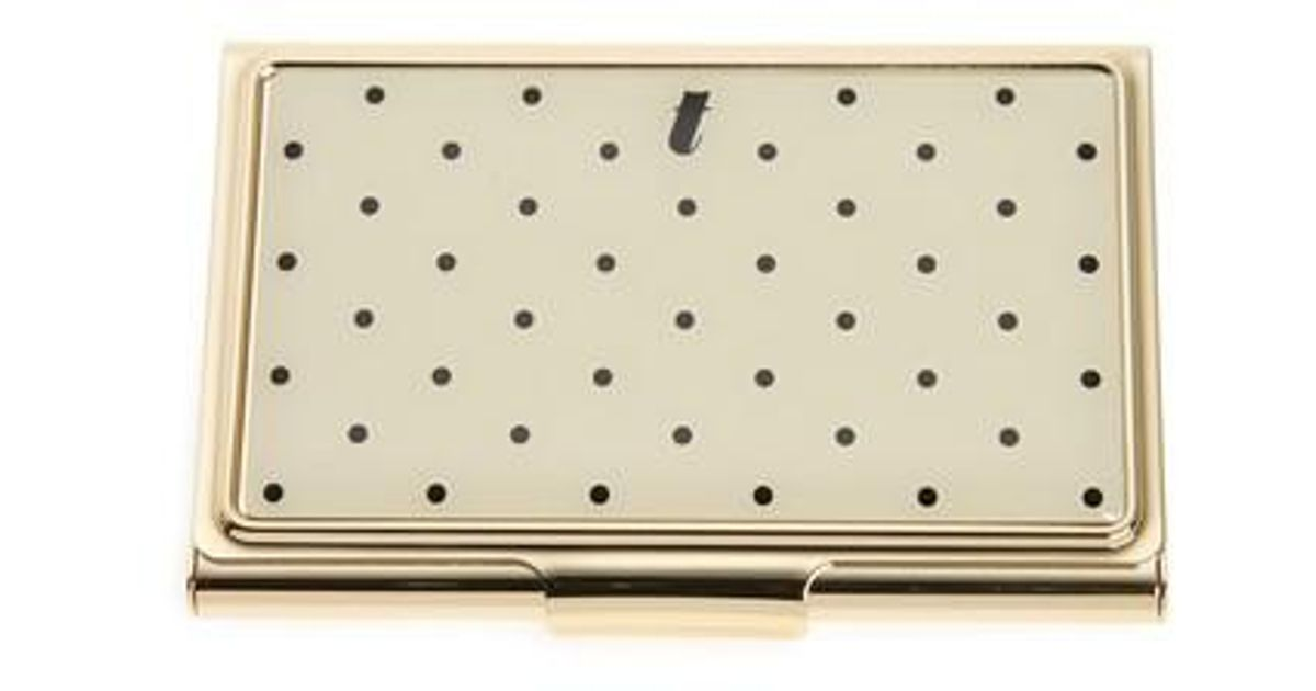 Lyst kate spade down to business initial card holder in metallic colourmoves