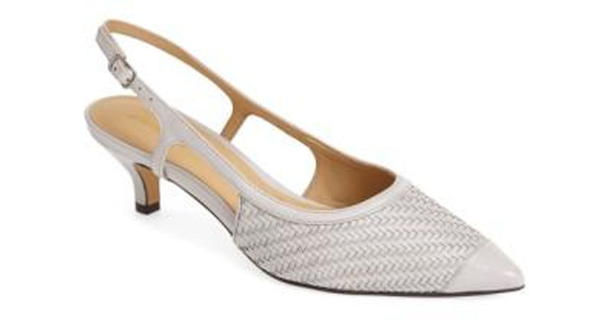 80c48742fc6 Lyst - Trotters  kimberly  Woven Leather Slingback Pump in Gray