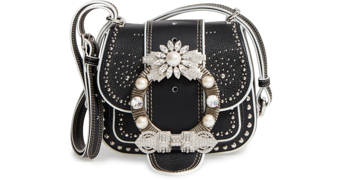 727ca098a326 Lyst - Miu Miu Dahlia Leather Shoulder Bag in Black