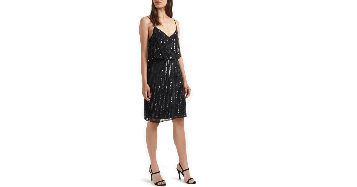 76418f6ac50b French Connection Aster Embroidered Sequin Detail Dress in Black - Lyst