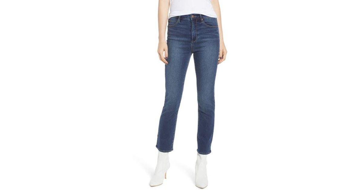 d735d6383 Leith High Waist Crop Flare Jeans in Blue - Lyst