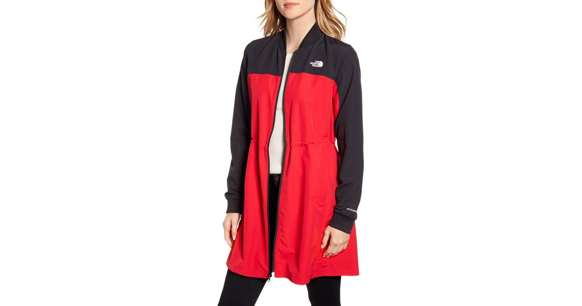 a6edda754 The North Face Red Flybae Water Resistant Longline Bomber Jacket