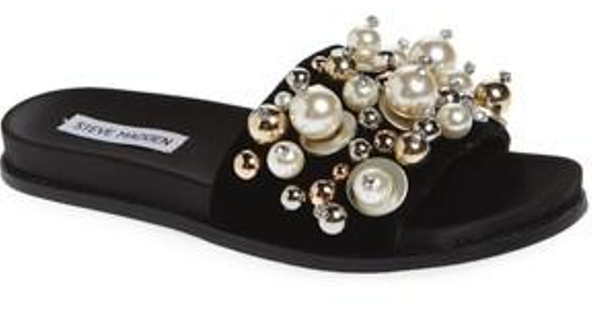 fef68e23389023 Lyst - Steve Madden Delicate Embellished Slide Sandal in Black