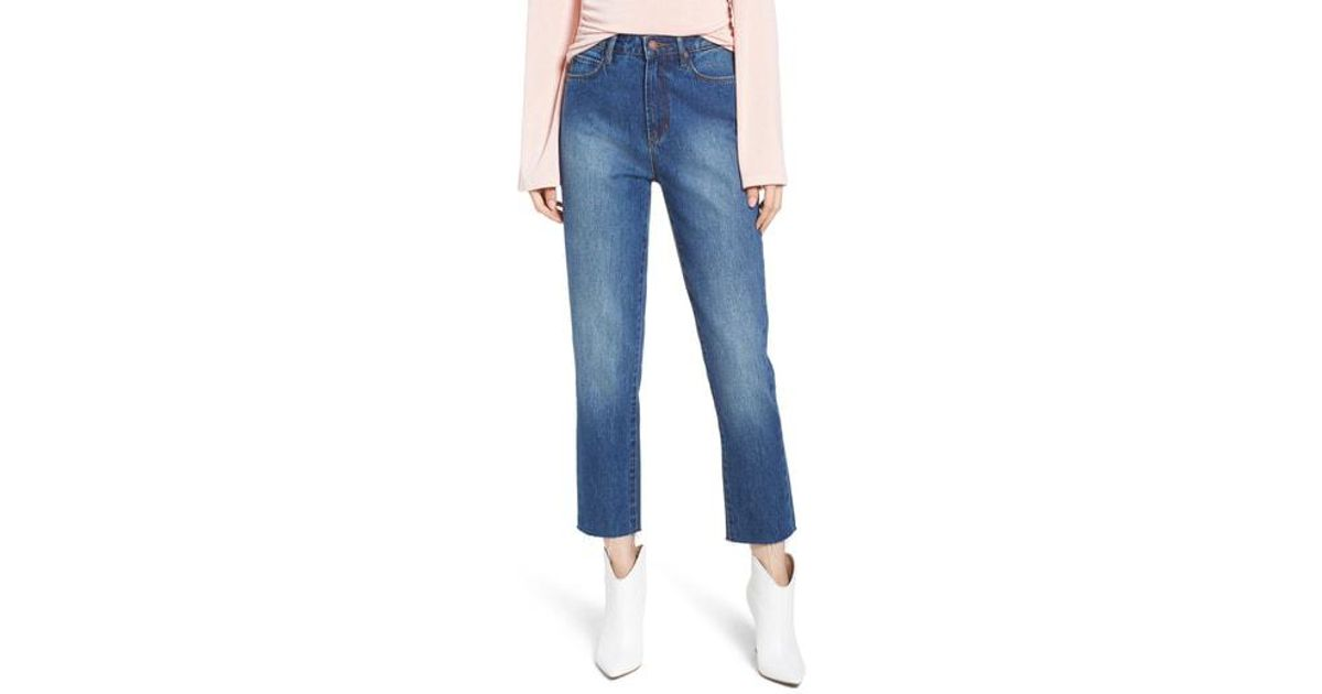 603eedac2 Lyst - Leith High Waist Crop Straight Leg Jeans in Blue
