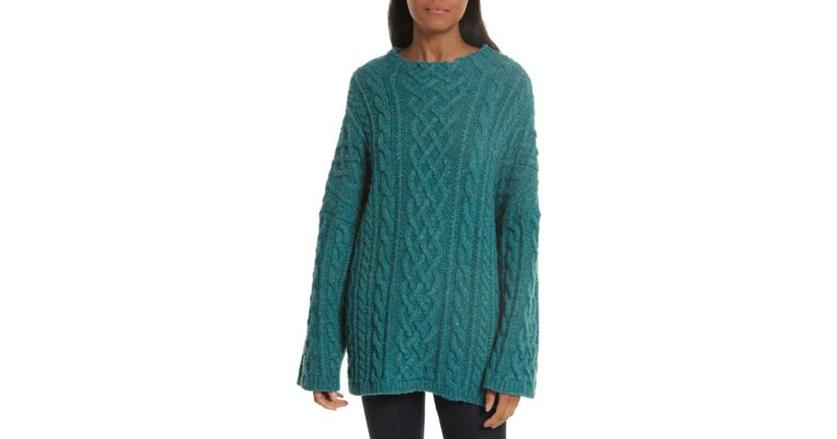 581ca08b917a Lyst - MILLY Oversize Fisherman Cable-knit Sweater in Green
