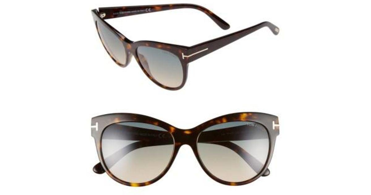 6fc08e777836 Lyst - Tom Ford  lily  56mm Cat Eye Sunglasses - Dark Havana  Gradient  Green in Brown