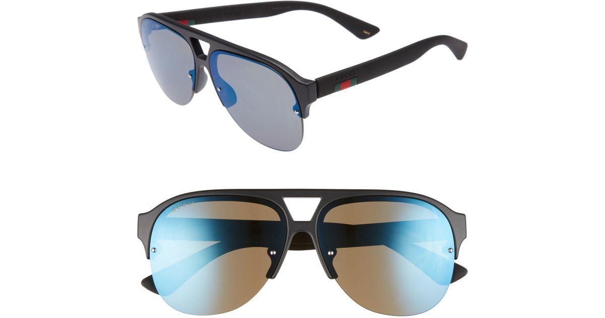 79a10f35c Gucci 59mm Semi Rimless Sunglasses in Black for Men - Lyst