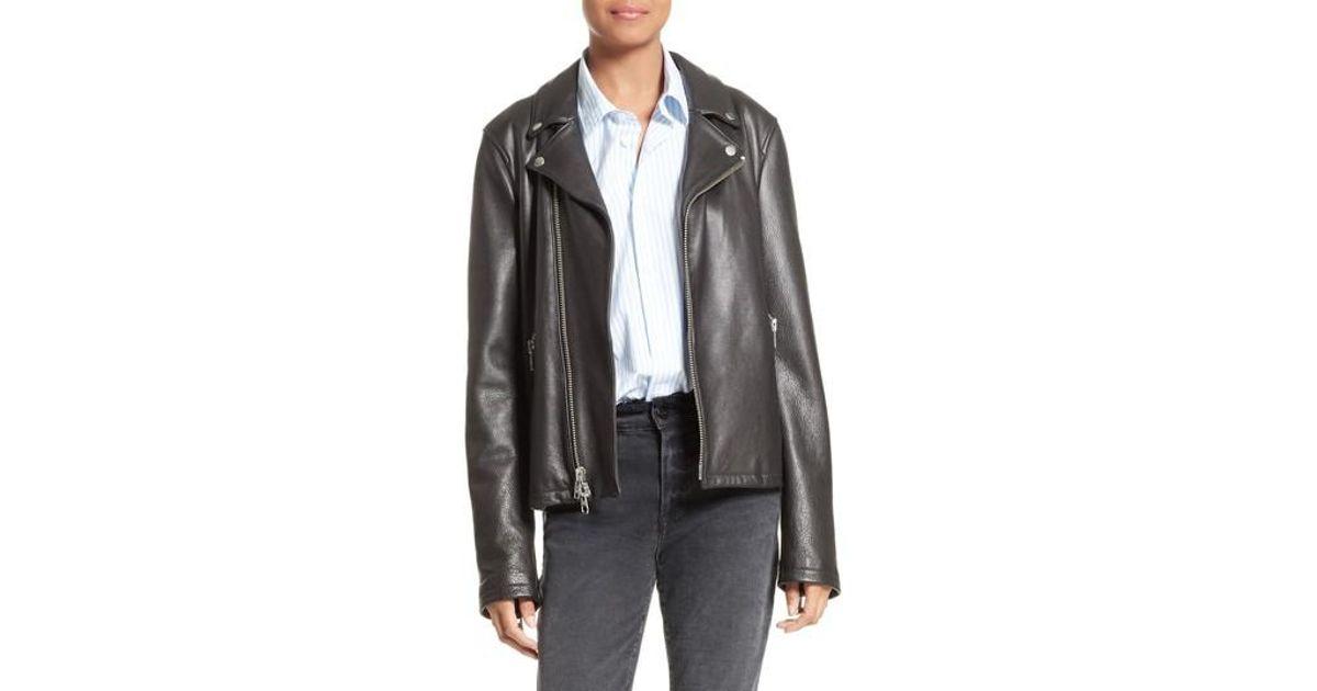 a67f3a542 FRAME Black Oversized Leather Moto Jacket