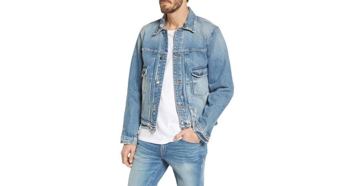 section spéciale Réduction vente au royaume uni FRAME Blue L'homme Distressed Denim Jacket for men