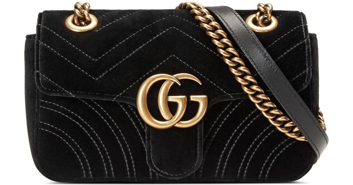 3c70628d7eb Lyst - Gucci Small Gg Marmont 2.0 Matelasse Velvet Shoulder Bag in Black -  Save 20%