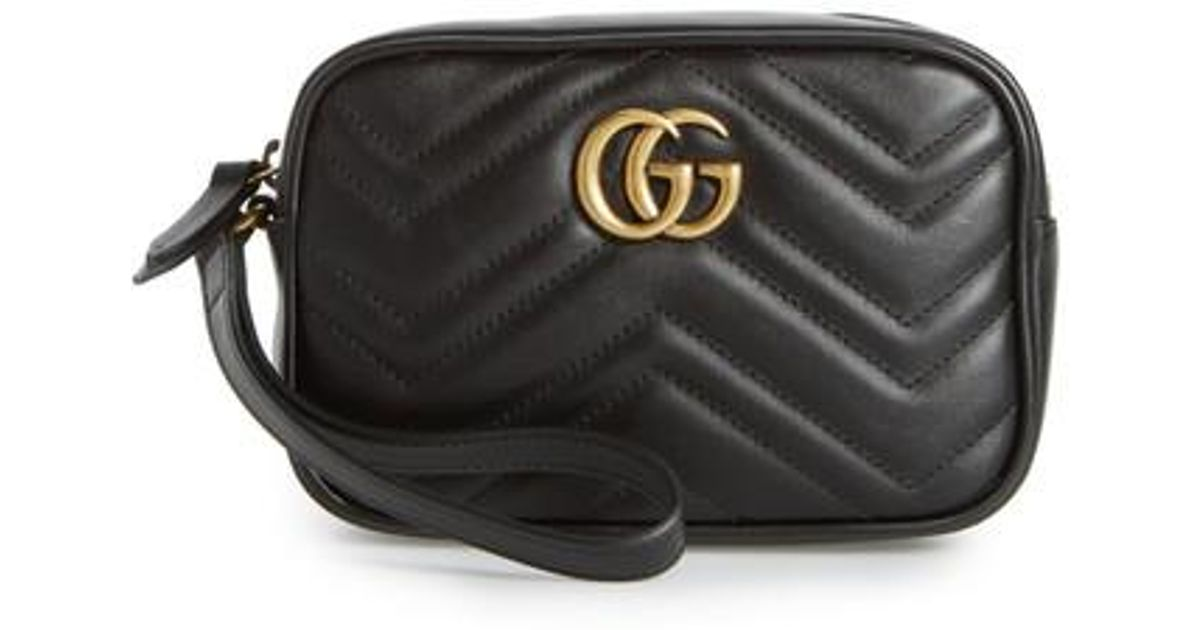 ec641a6caf85 Gucci Mini Gg Marmont 2.0 Matelasse Leather Wristlet in Black - Lyst
