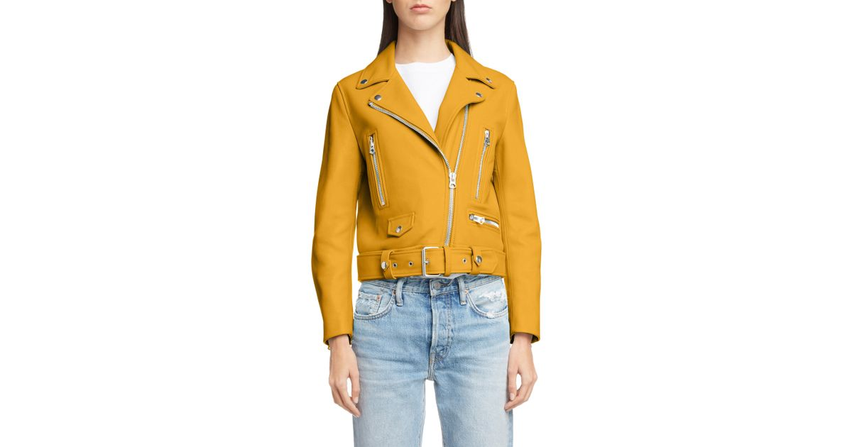 b1f292e0c Acne Yellow Mock Core Leather Moto Jacket