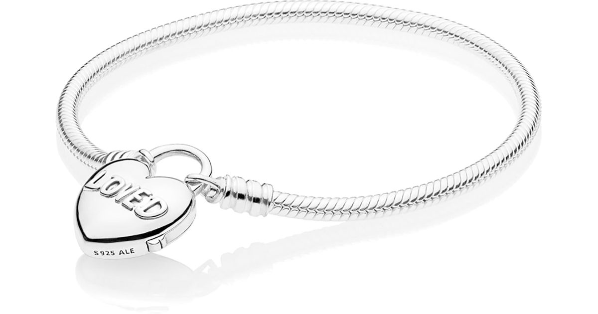 Pandora Heart Padlock Bracelet In Silver Metallic Lyst
