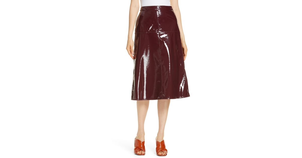 f4c9c1a9e32 Lyst - LEWIT Patent Leather Midi Skirt in Red