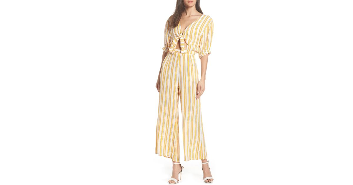 8f92888e944 Lyst - Faithfull The Brand Matese Sun Stripe Jumpsuit in Natural