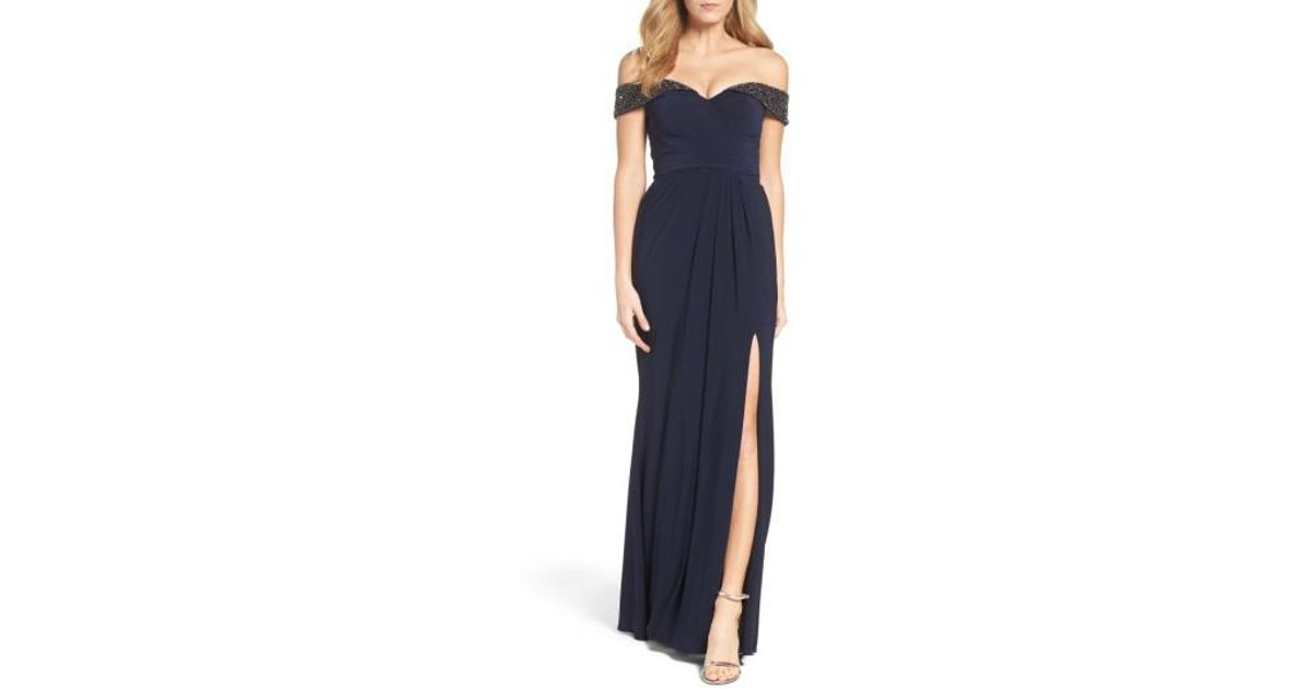 6dfe9edb Xscape Off The Shoulder Beaded Gown in Blue - Lyst