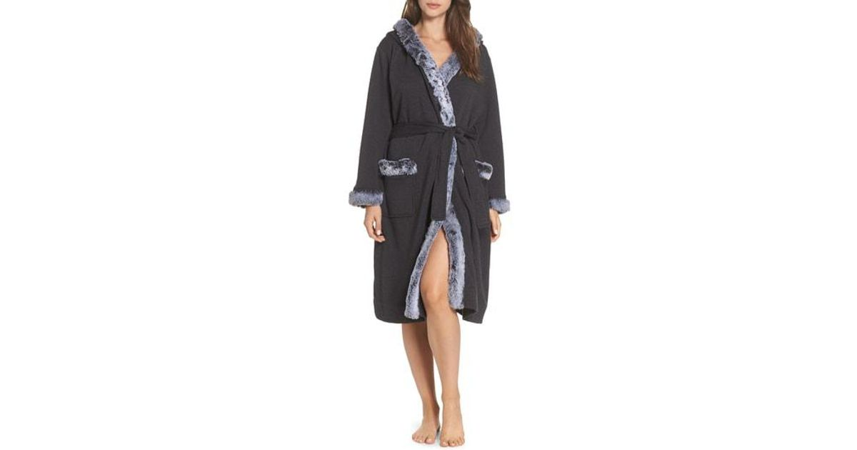 fe1574bf42 Lyst - Ugg Ugg Duffield Ii Deluxe Faux Fur Trim Robe in Black
