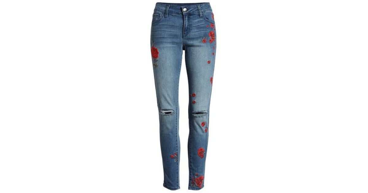 afb78982c8037f Lyst - Tinsel Rose Embroidered Ripped Skinny Jeans in Blue