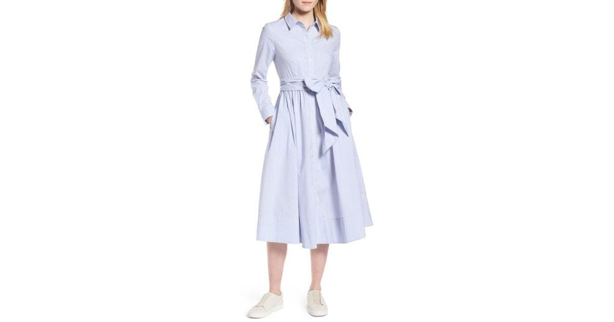7f0c3092b119e Nordstrom 1901 Stripe Midi Shirtdress in Blue - Lyst