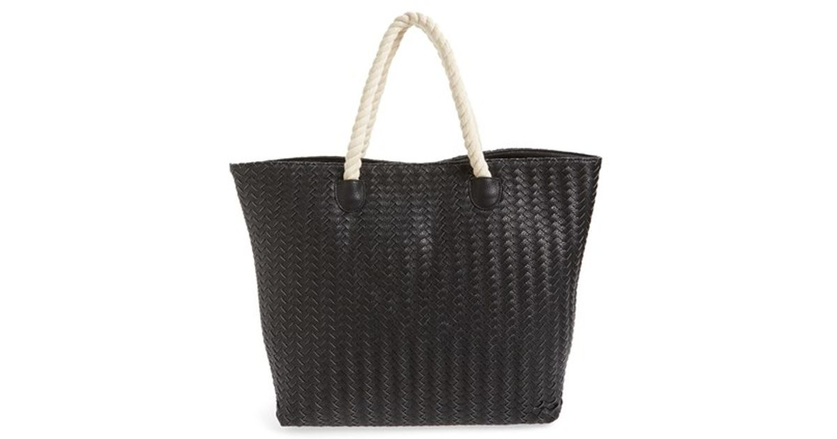 Deux Lux Crosby Woven Faux Leather Rope Handle Tote In