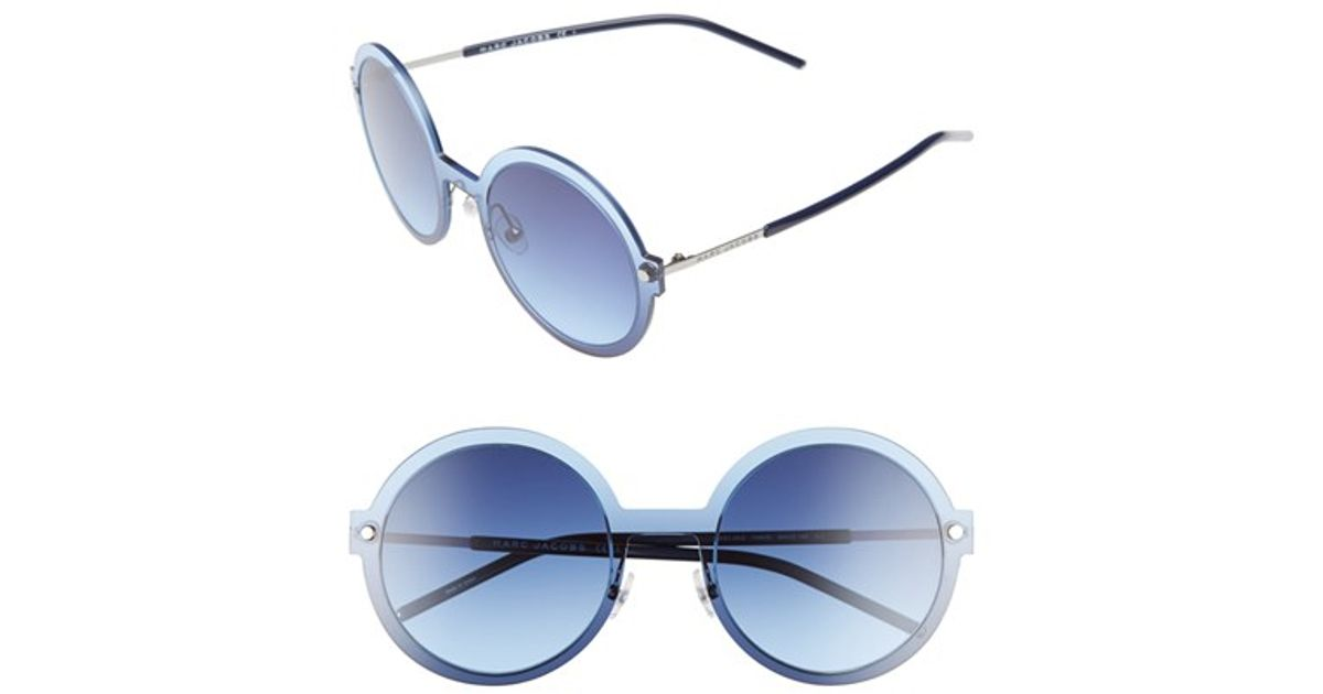59685ddcb86 Lyst - Marc Jacobs 54mm Round Sunglasses - Ruthenium  Blue in Blue