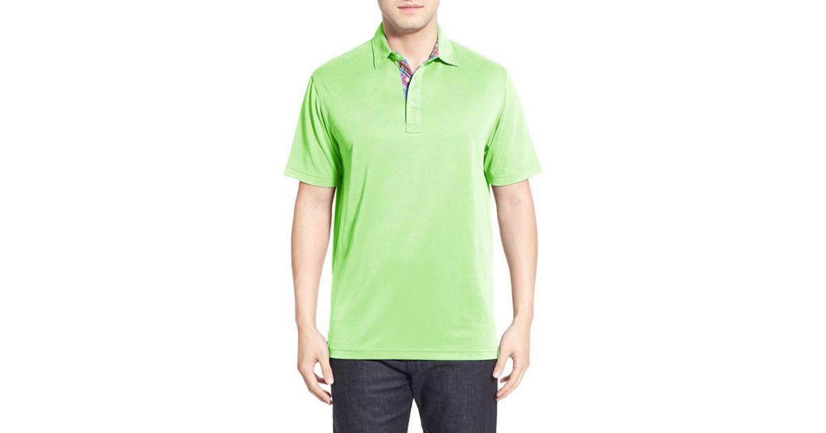 Bugatchi bugachi pique polo in green for men lyst for Apple green dress shirt