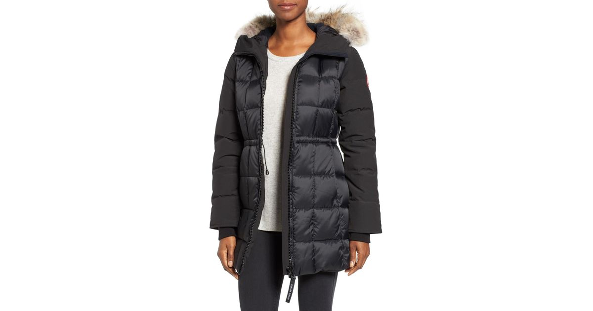 f9245fa9524f Canada Goose Beechwood Down Parka With Genuine Coyote Fur Trim in Black -  Lyst