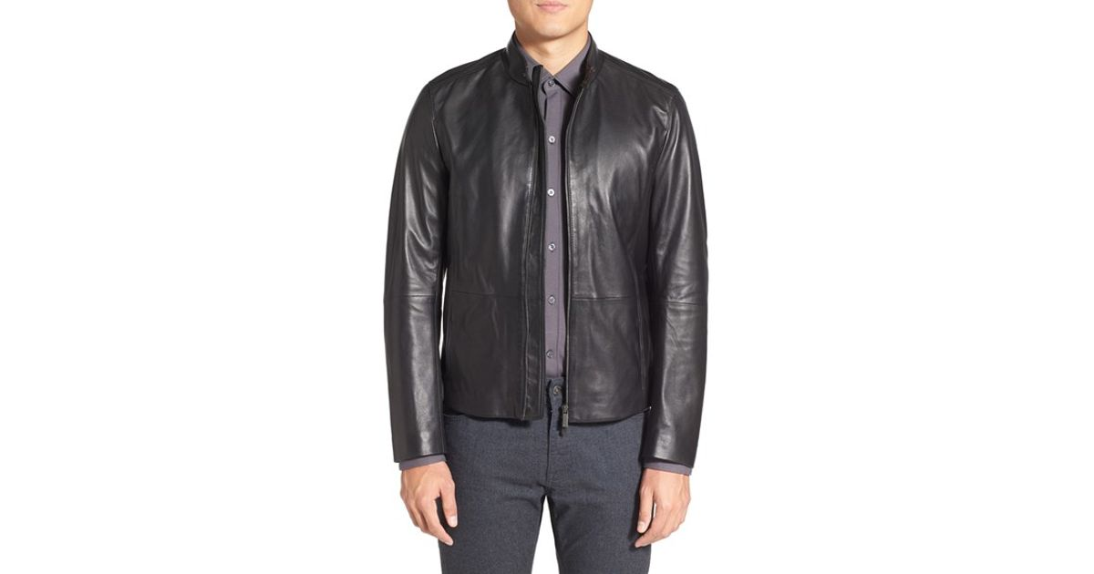 4b0033d5d7b Lyst - BOSS  nevilo  Slim Fit Leather Jacket in Black for Men