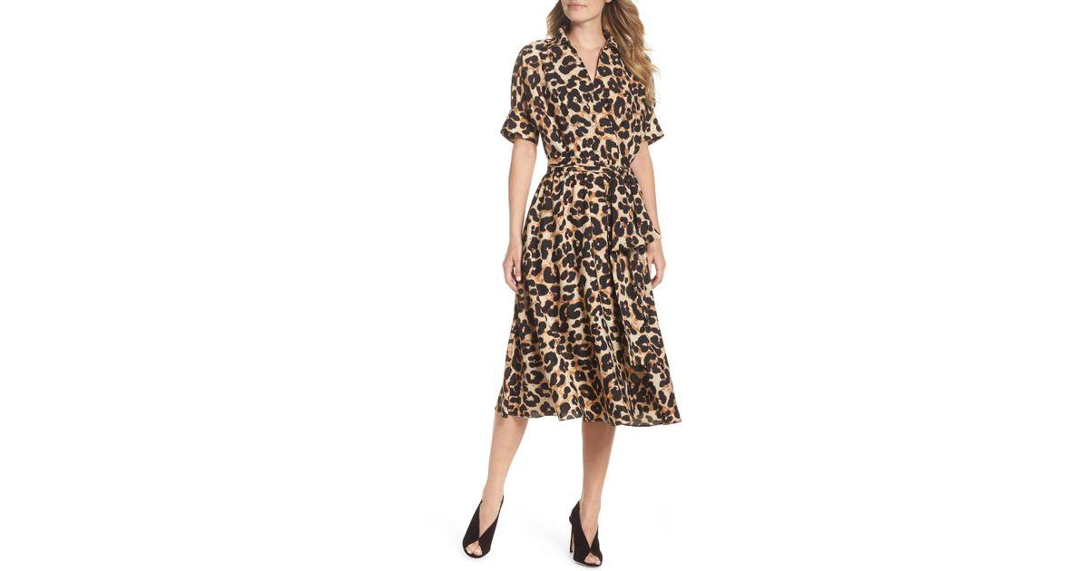 683b8cded5c Lyst - Eliza J Animal Print Midi Shirtdress