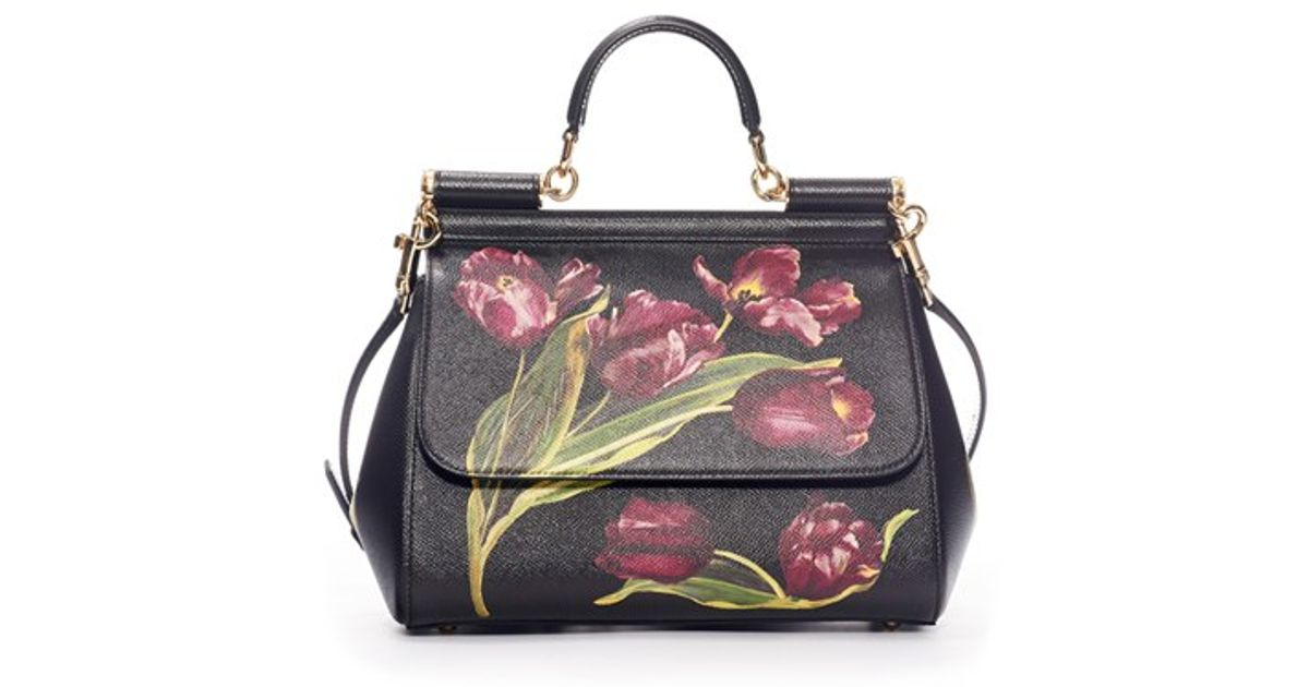 Lyst - Dolce   Gabbana  small Miss Sicily  Tulip Print Leather Satchel 031316b9aa