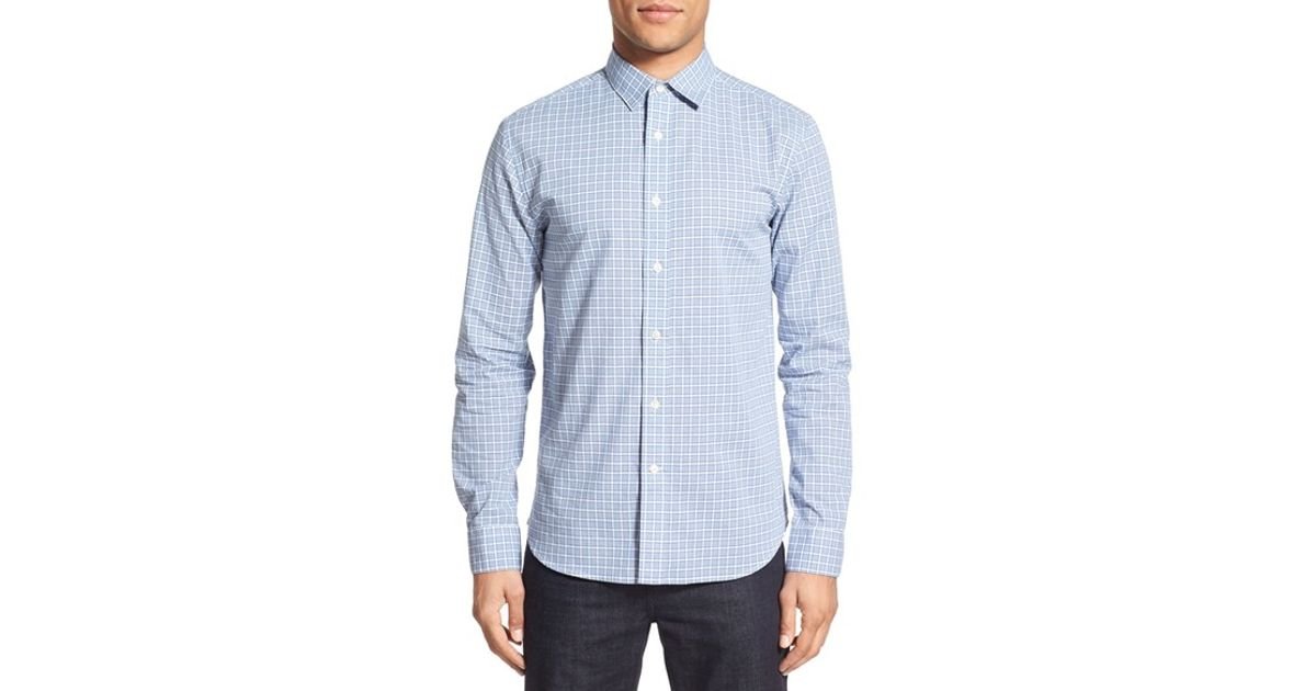 Slate And Stone Clothing : Slate stone grid sport shirt in blue for men lyst