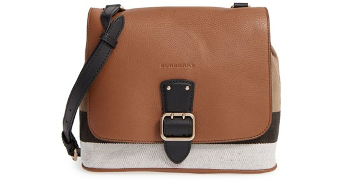 a2276d4313d5 Lyst - Burberry Small  Shellwood  Canvas   Leather Crossbody Bag in Brown