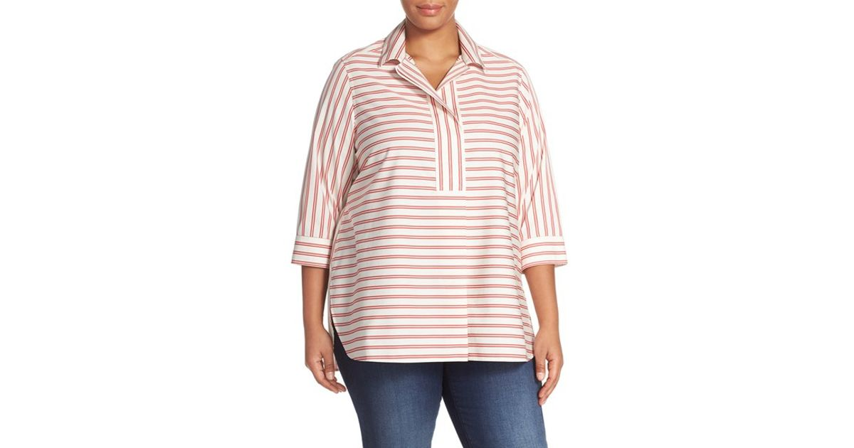 Foxcroft stripe no iron cotton tunic shirt in orange lyst - How to unwrinkle your clothes with no iron ...