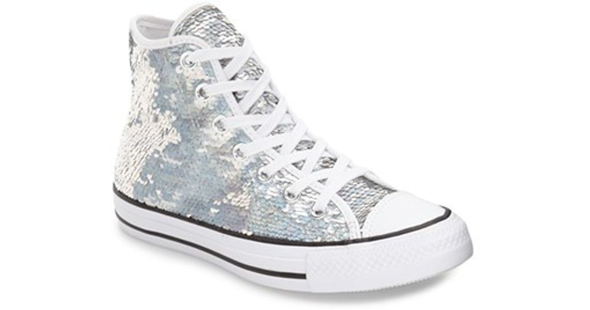 d35f147c61cf Lyst - Converse Chuck Taylor All Star  holiday Party  Sequin High Top  Sneaker in White