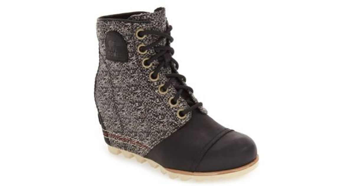 2ec34324289 Lyst - Sorel 1964 Premium Canvas Waterproof Leather Wedge Boots in Black