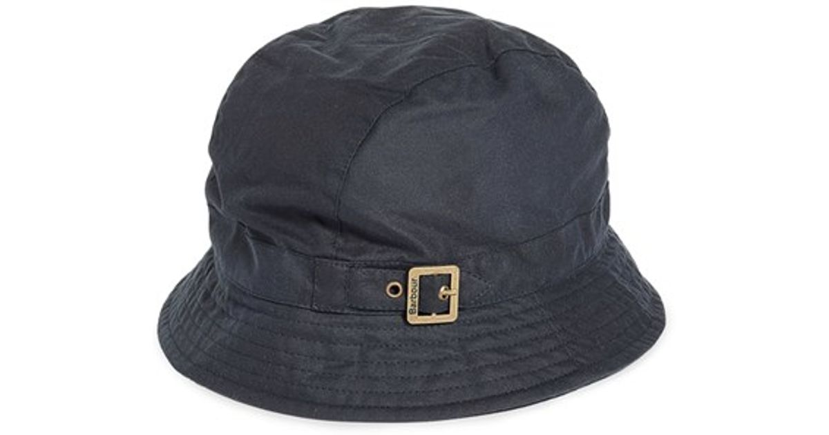 Barbour Waxed Cotton Trench Hat In Blue For Men Lyst