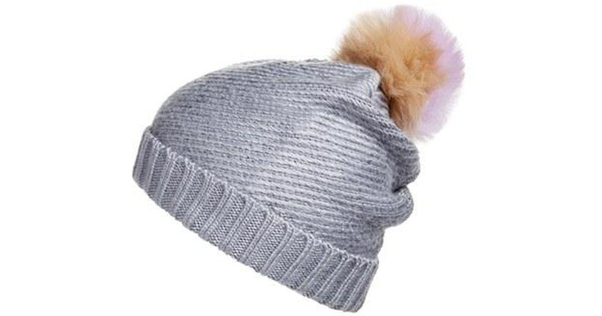 451c9c1eb0325 Lyst - BCBGMAXAZRIA Faux Fur Pompom Knit Beanie