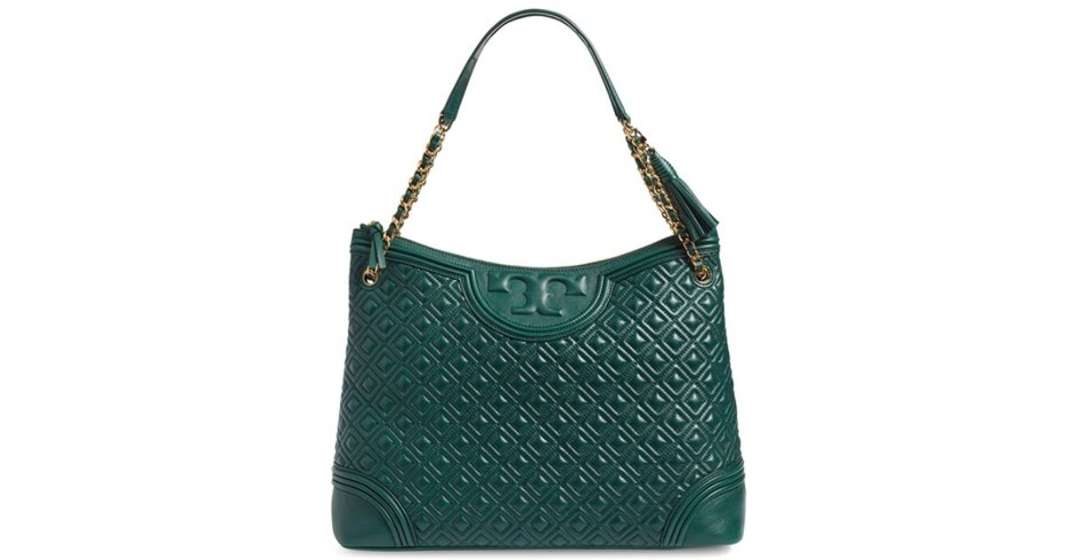 686eb2501d03 Lyst - Tory Burch  Fleming  Leather Shoulder Bag in Green