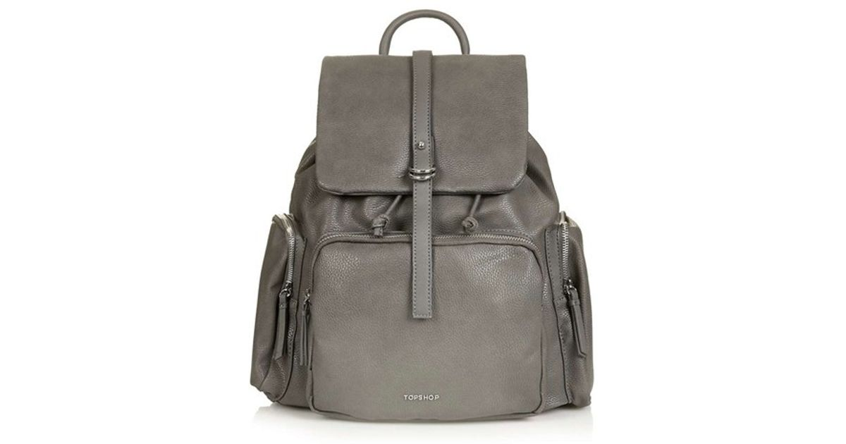 d3f4993e1ddf Lyst - TOPSHOP Faux Leather Backpack in Gray