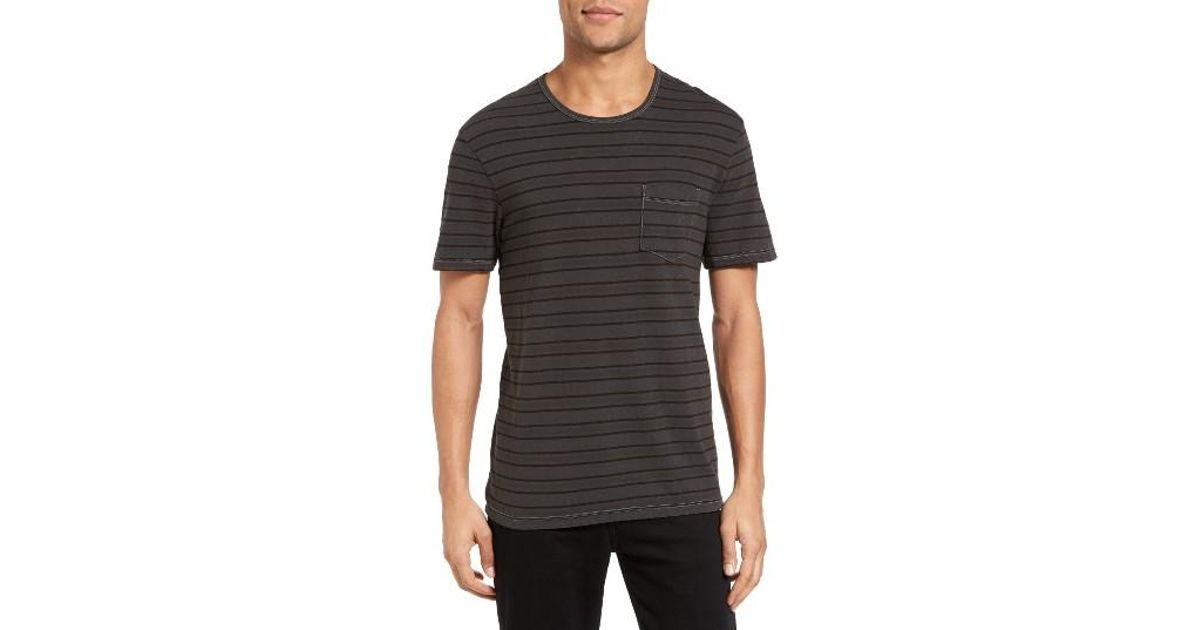 James perse retro stripe pocket t shirt in black for men for James perse t shirts sale