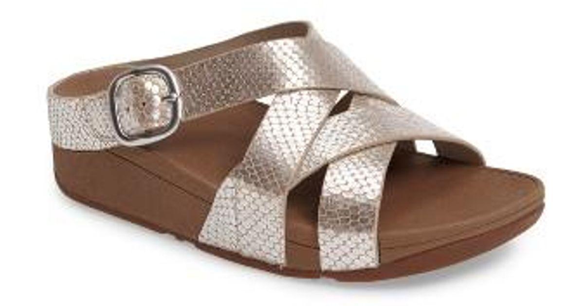 94b6c49780b9f9 Lyst - Fitflop (tm) The Skinny Crisscross Slide Sandal