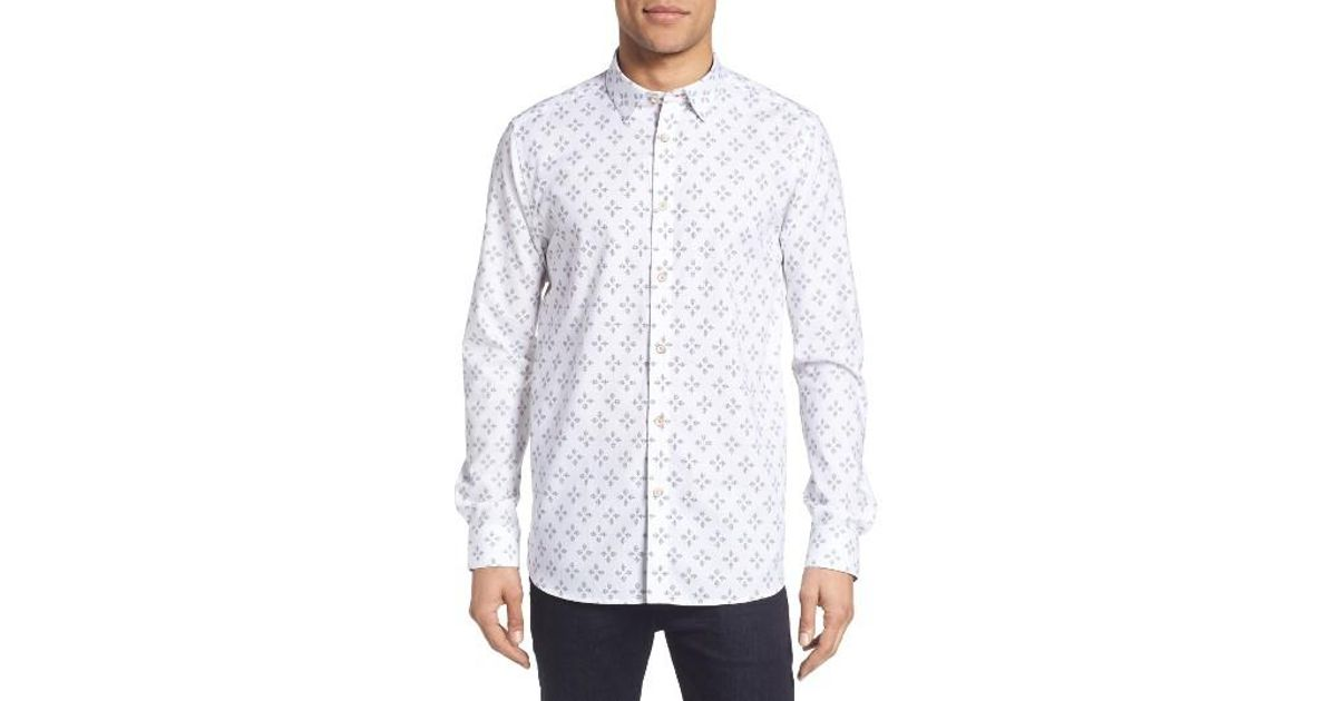 696a78706 Lyst - Ted Baker Laaze Extra Slim Fit Geo Print Sport Shirt in White for Men