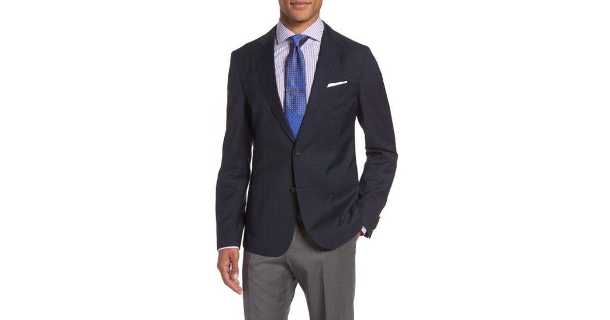 519fe2fcc Lyst - HUGO Boss Nold 8 Trim Fit Windowpane Wool Sport Coat in Blue for Men