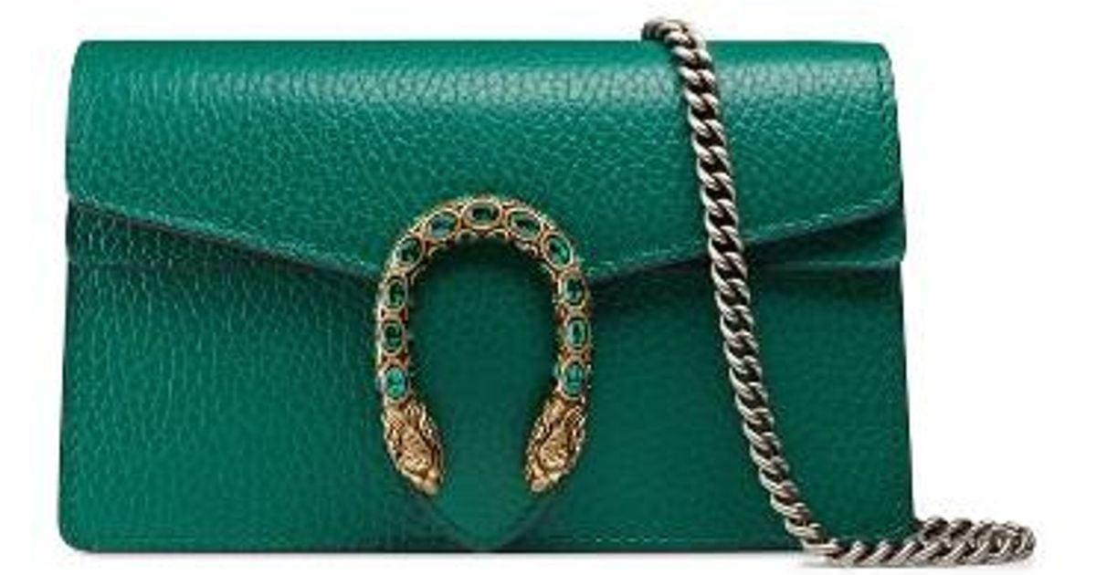 acff6272e72 Lyst - Gucci Super Mini Dionysus Leather Shoulder Bag in Green